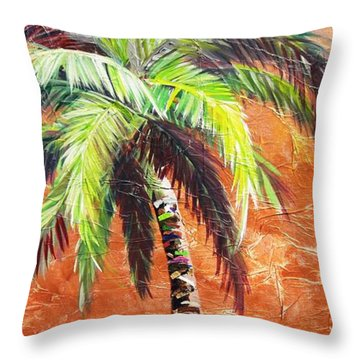Penny Palm Throw Pillow by Kristen Abrahamson