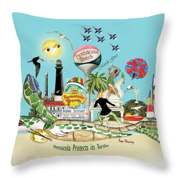 Pensacola Protects Its Turtles Throw Pillow