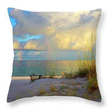 Pensacola Rainbow At Sunset Throw Pillow by Marie Hicks