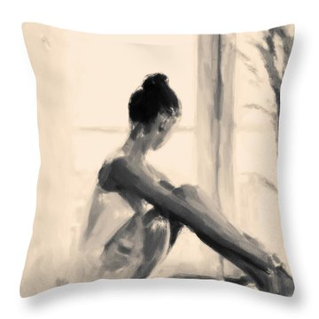 Pensive Ballerina Throw Pillow