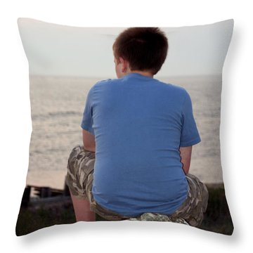 Pensive Beach Teen Boy 3 Throw Pillow