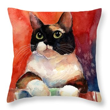Pensive Calico Tubby Cat Watercolor Painting Throw Pillow