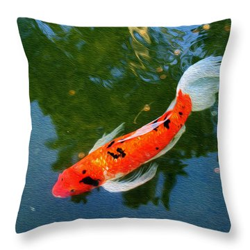 Pensive Koi Throw Pillow