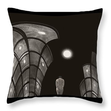 Throw Pillow featuring the photograph Pensive Nude In A Surreal World by Joe Bonita