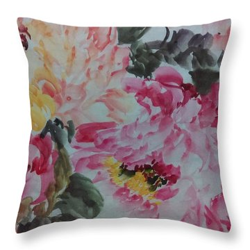 Throw Pillow featuring the painting Peoney20161229_10 by Dongling Sun