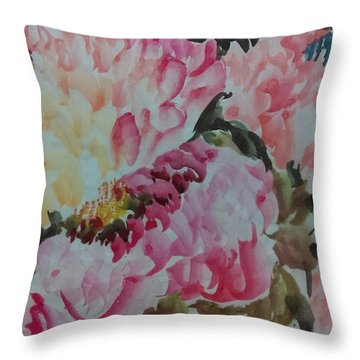 Throw Pillow featuring the painting Peoney20161229_9 by Dongling Sun