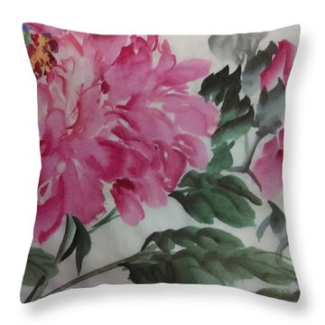 Throw Pillow featuring the painting Peoney20161230_623 by Dongling Sun