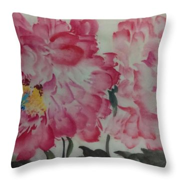 Throw Pillow featuring the painting Peoney20161230_624 by Dongling Sun