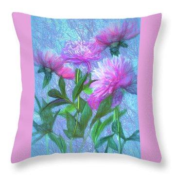 Throw Pillow featuring the digital art Peonies #3 by John Selmer Sr