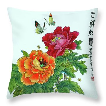 Peonies And Butterflies Throw Pillow by Yufeng Wang