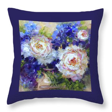 Peonies And Delphs Adrift Throw Pillow by Nancy Medina