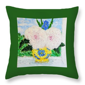Peonies And Iris On The Window. Throw Pillow