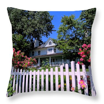 Peonies And Picket Fences Throw Pillow