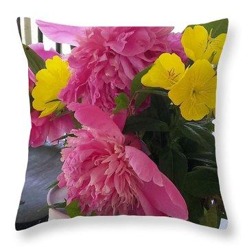 Peonies And Primroses Throw Pillow