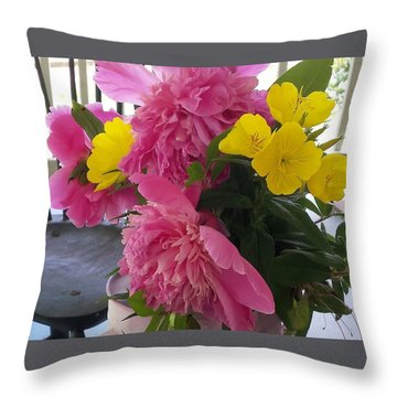 Peonies And Primroses Throw Pillow