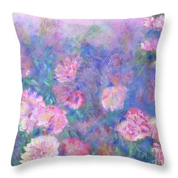 Throw Pillow featuring the painting Peonies by Claire Bull