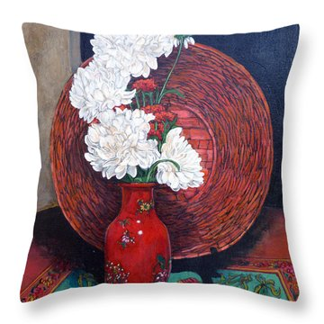 Throw Pillow featuring the painting Peonies For Nana by Tom Roderick