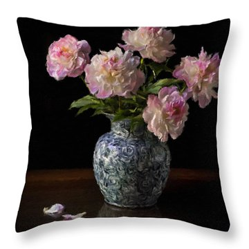 Peonies In A Blue Vase Faux Oil Throw Pillow