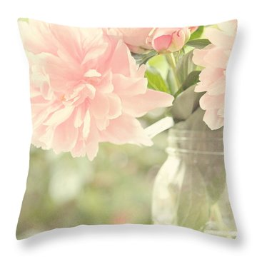 Peonies In A Mason Jar Throw Pillow