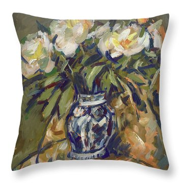 Peonies In Delft Blue Vase On Quilt Throw Pillow