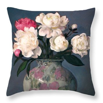 Peonies In Floral Vase, Red Apple Throw Pillow