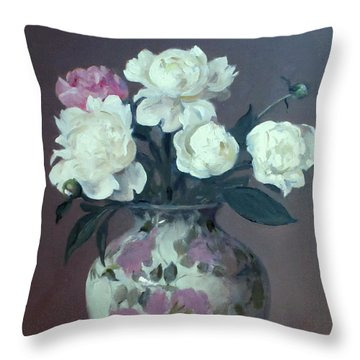 One Pink And Four White Peonies,lavender Cloth  Throw Pillow