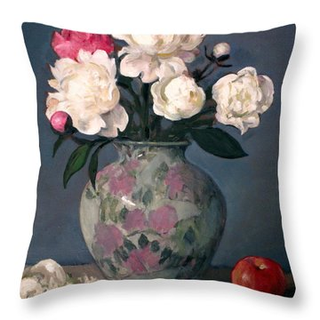 Peonies In Floral Vase With Red Apple Throw Pillow