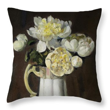 Peonies In Fluted Japanese Coffeepot Throw Pillow
