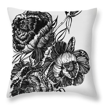 Peonies Line Drawing Throw Pillow