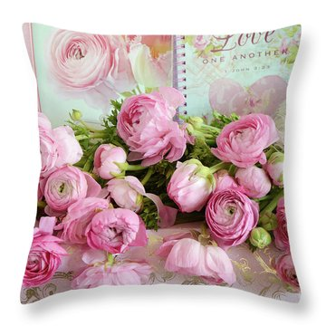 Peonies Ranunculus Roses Shabby Chic Cottage Love - Pink Floral Cottage Home Decor Throw Pillow
