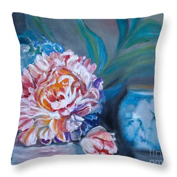 Throw Pillow featuring the painting Peony And Chinese Vase by Jenny Lee