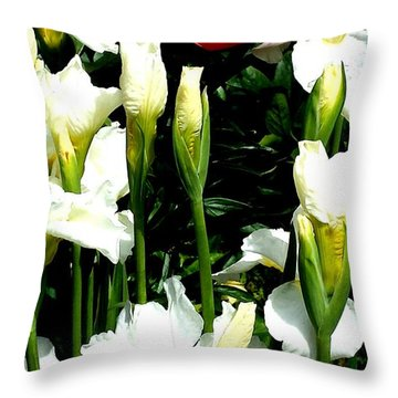 Peony And Iris Throw Pillow