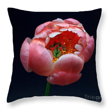 Peony Bloom Throw Pillow