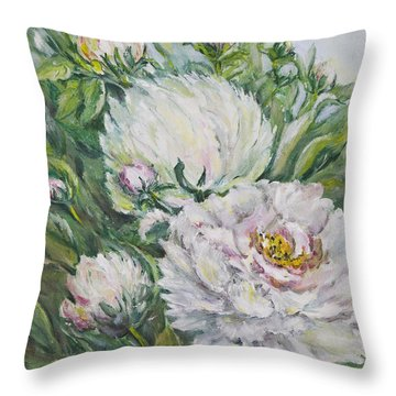 Peony Throw Pillow by Carolyn Bell