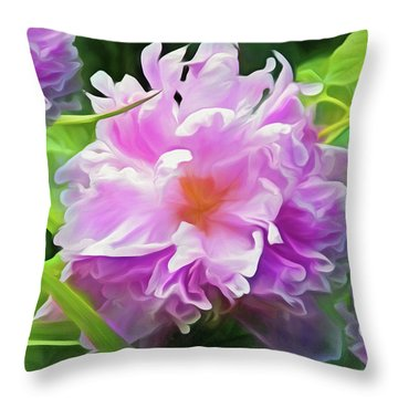 Throw Pillow featuring the mixed media Peony Cluster 7 by Lynda Lehmann