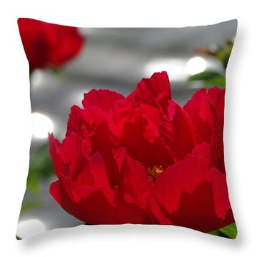 Peony In Red Throw Pillow