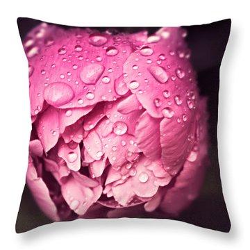 Peony In The Rain Throw Pillow