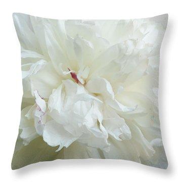 Peony In White Throw Pillow