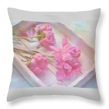 Peonies In White Box Throw Pillow