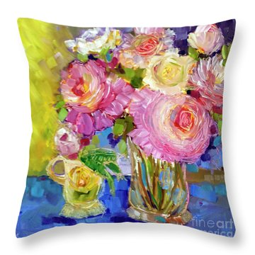Throw Pillow featuring the painting Peony Love by Rosemary Aubut