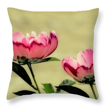 Peony Pair - Enhanced Throw Pillow by MTBobbins Photography