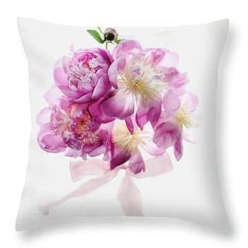 Throw Pillow featuring the photograph Peony Pink Squared by Rebecca Cozart