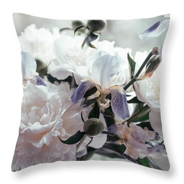 Throw Pillow featuring the photograph Peony Romance by Jenny Rainbow