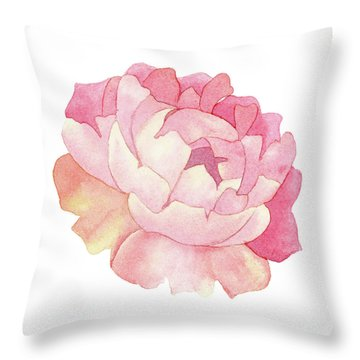 Throw Pillow featuring the painting Peony Watercolor  by Taylan Apukovska