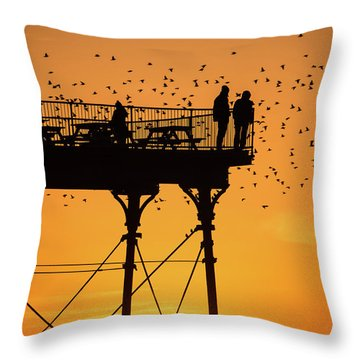 People On The Pier Sunset And Starlings In Aberystwyth Wales Throw Pillow