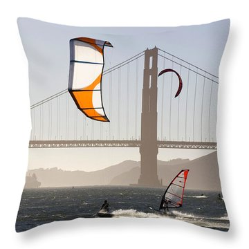 People Wind Surfing And Kitebording Throw Pillow by Skip Brown