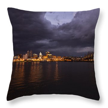 Throw Pillow featuring the photograph Peoria Stormy Cityscape by Andrea Silies