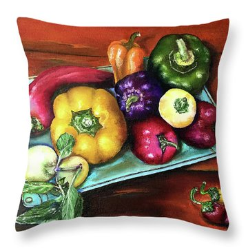 Peppers And A Turquoise Tray Throw Pillow