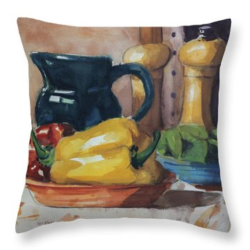 Peppers And Jug Throw Pillow