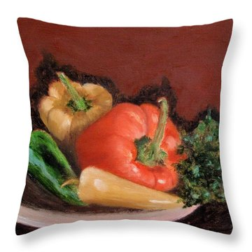 Peppers And Parsley Throw Pillow